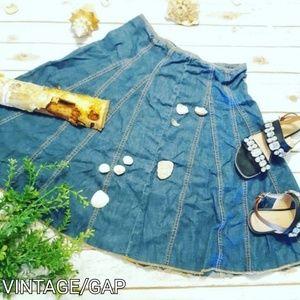 Vintage 70s Contrast Stitch Denim Midi Skirt